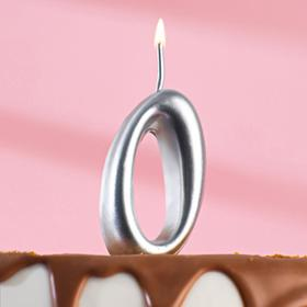 """Свеча для торта цифра """"Серебряная"""" """"0"""""""