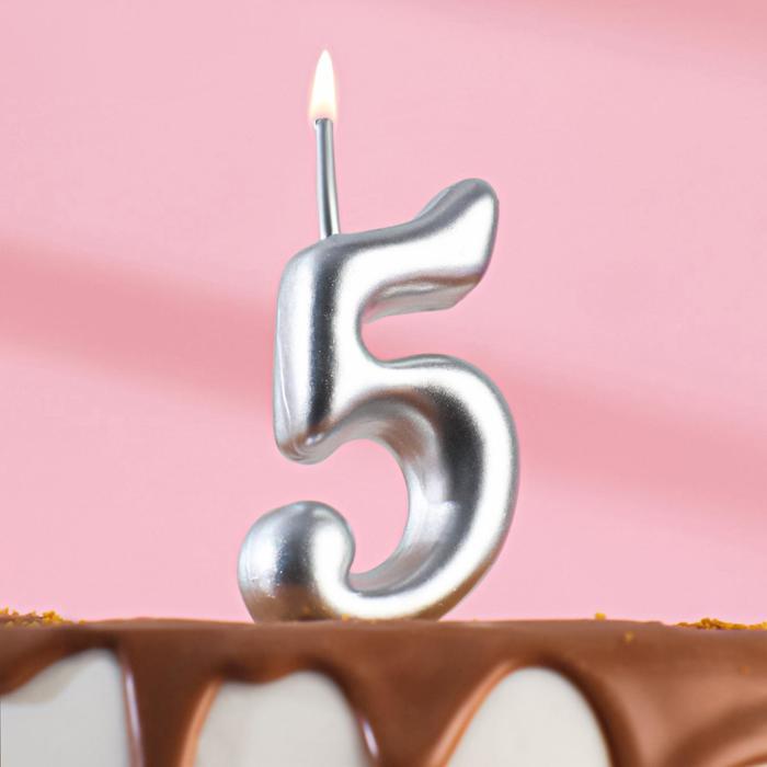 "Свеча для торта цифра ""Серебряная"" ""5"" - фото 1706289"