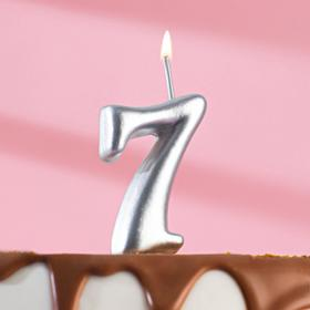 """Свеча для торта цифра """"Серебряная"""" """"7"""""""