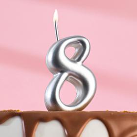 """Свеча для торта цифра """"Серебряная"""" """"8"""""""