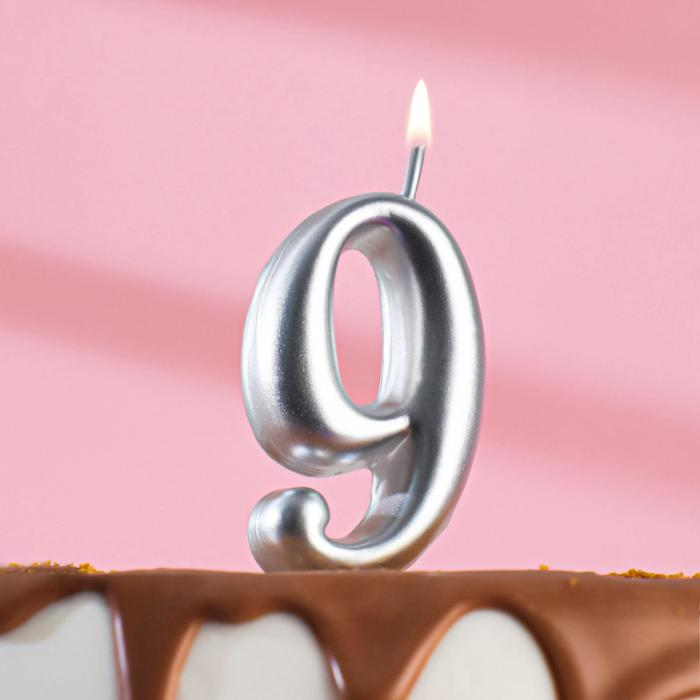 "Свеча для торта цифра ""Серебряная"" ""9"" - фото 308621232"