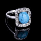 """Кольцо """"Сафари"""", размер 18, цвет голубой в чернёном серебре"""