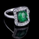 """Кольцо """"Сафари"""", размер 17, цвет зелёный в чернёном серебре"""