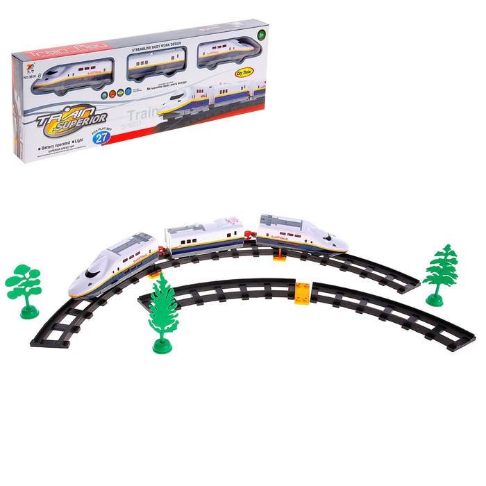 """Железная дорога """"Скоростной электропоезд"""", световые эффекты, 27 деталей"""