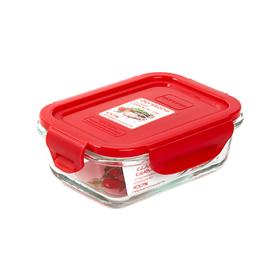 Стеклянный контейнер Oursson, 370 мл, красный