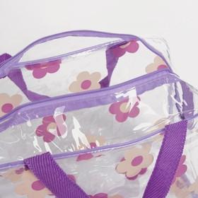 Косметичка ПВХ, отдел на молнии, 2 ручки, цвет фиолетовый - фото 1769905
