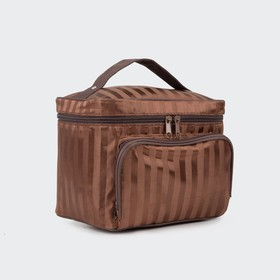 Beautician-box, Department, zip, external pocket, mirror, color brown