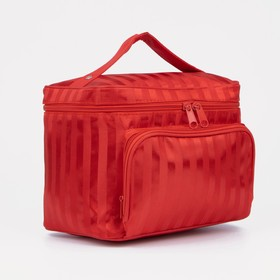 "Beautician-box ""Strip"", the zipper, external pocket, mirror, color red"