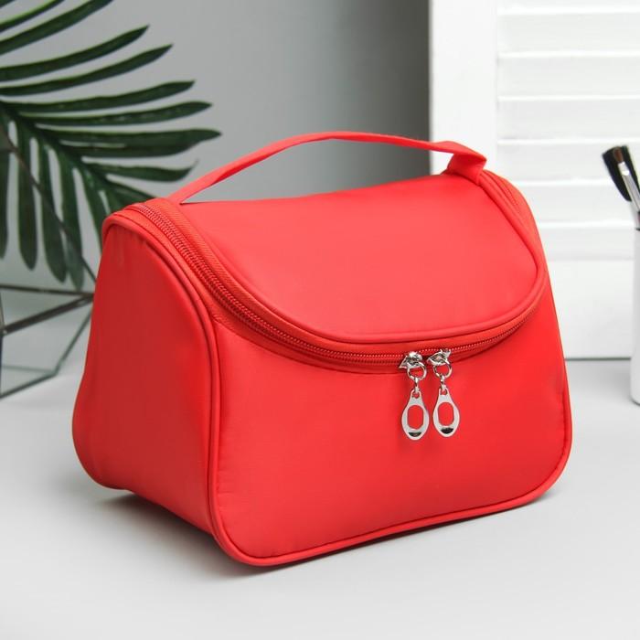Косметичка-сумочка, отдел на молнии, цвет красный
