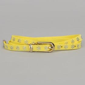 Ремень женский, стразы, пряжка хомут, кончик золото, ширина - 1 см, цвет жёлтый