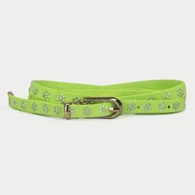Ремень женский, стразы, пряжка хомут, кончик золото, ширина - 1 см, цвет зелёный