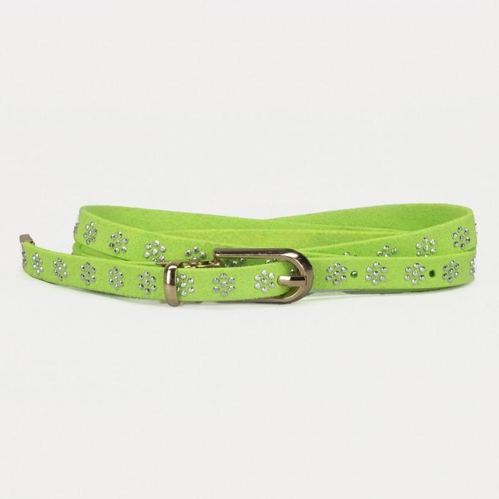 Ремень, стразы, пряжка хомут, кончик золото, ширина - 1 см, цвет зелёный