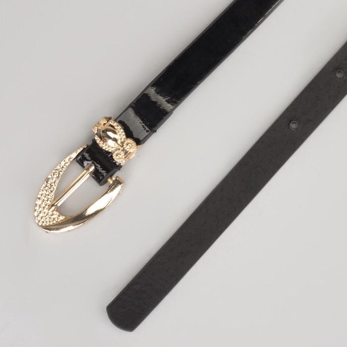 Ремень женский, гладкий, пряжка хомут золото, ширина - 1,3 см, цвет чёрный