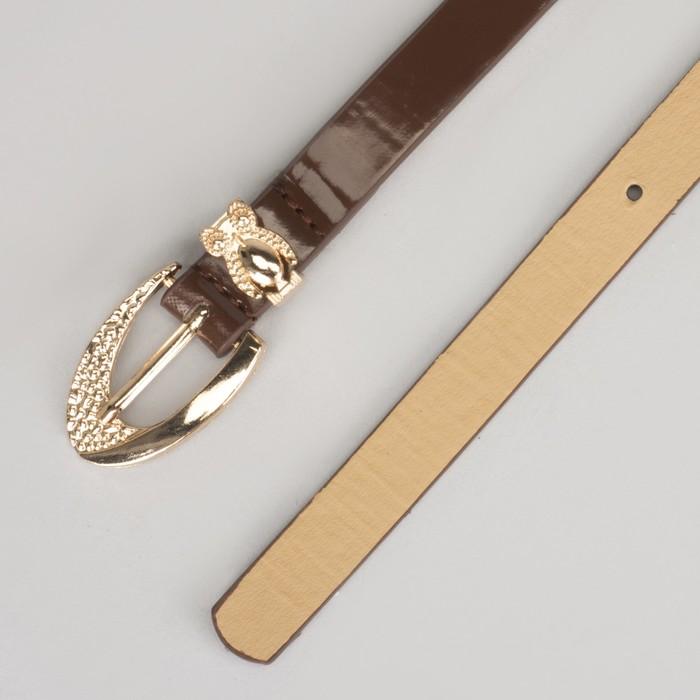 Ремень женский, гладкий, пряжка хомут золото, ширина - 1,3 см, цвет кофе