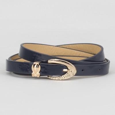 Women's belt smooth buckle clip gold, width - 1.3 cm, color blue