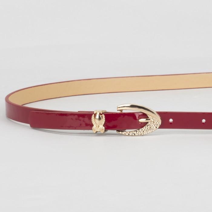 Ремень женский, гладкий, пряжка хомут золото, ширина - 1,3 см, цвет красный