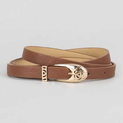 Women's belt smooth buckle clip gold, width - 1.3 cm, brown color