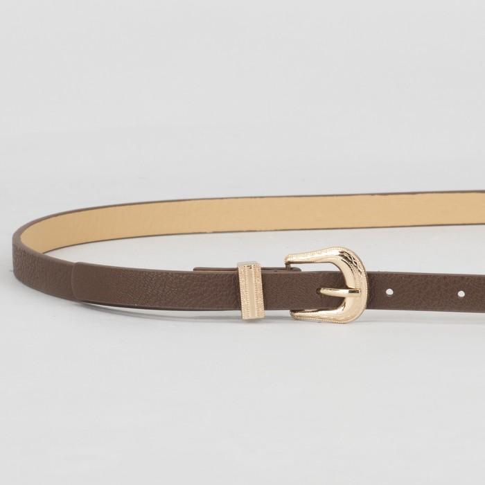 Ремень женский, гладкий, пряжка хомут золото, ширина - 1,3 см, цвет коричневый