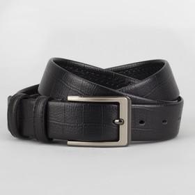Ремень мужской, пряжка матовый металл, ширина - 3 см, цвет чёрный