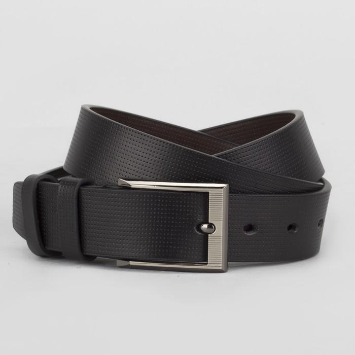 Ремень мужской, гладкий, пряжка матовый металл, ширина - 3 см, цвет чёрный