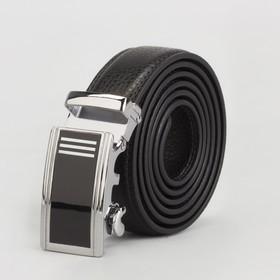 Ремень мужской, 2 строчки, пряжка автомат металл, ширина - 3 см, цвет чёрный