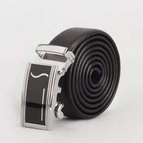 Ремень мужской, гладкий, пряжка автомат металл, ширина - 3 см, цвет чёрный