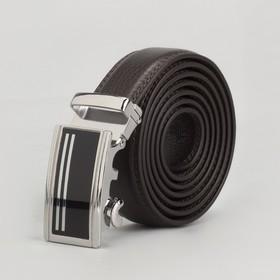 Ремень мужской, 2 строчки, пряжка автомат металл, ширина - 3 см, цвет коричневый