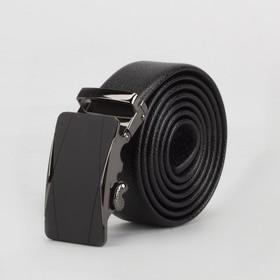 Ремень мужской, ширина 3,5 см, гладкий, автомат, цвет чёрный