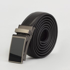 Ремень мужской, 2 строчки, пряжка зажим матовый металл, ширина - 3 см, цвет чёрный