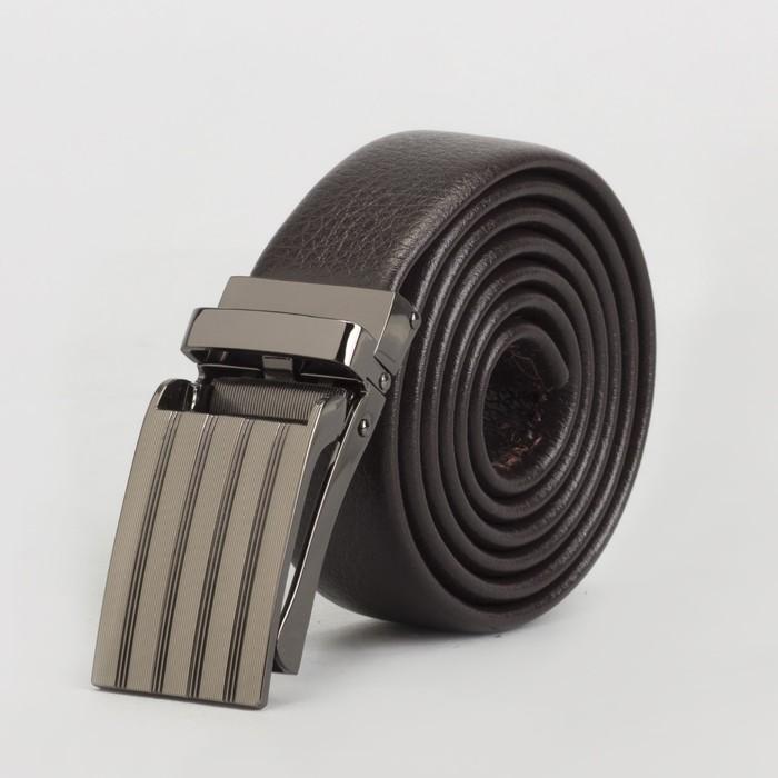 Ремень мужской, гладкий, пряжка зажим металл, ширина - 3 см, цвет кофе