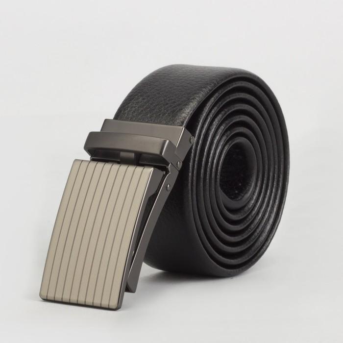 Ремень мужской, гладкий, пряжка зажим матовый металл, ширина - 3,5 см, цвет чёрный