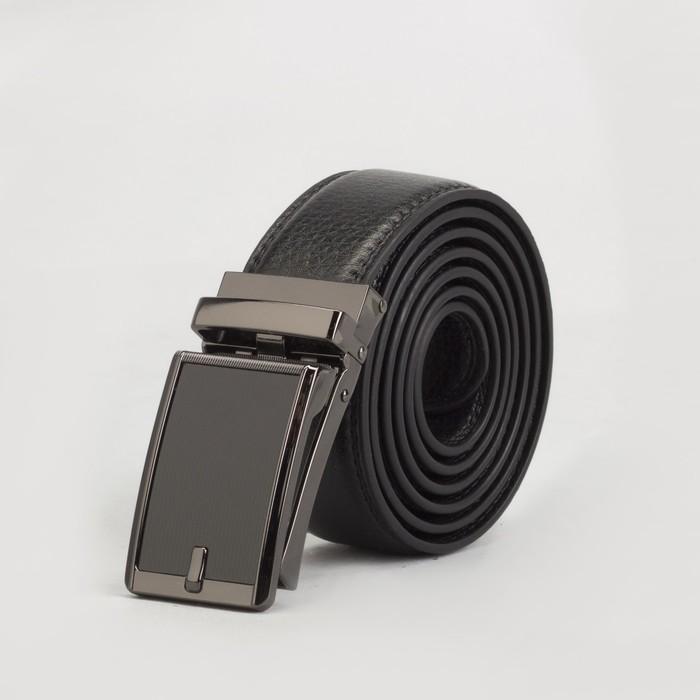 Ремень мужской, 2 строчки, пряжка зажим тёмный металл, ширина - 3,5 см, цвет чёрный