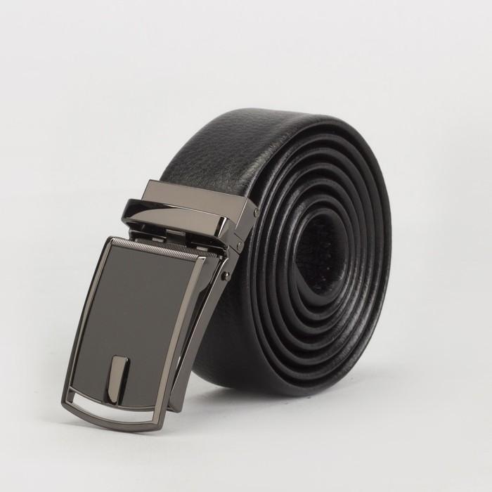 Ремень мужской, гладкий, пряжка зажим тёмный металл, ширина - 3,5 см, цвет чёрный