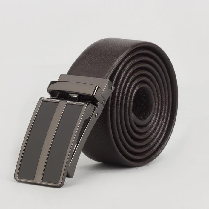 Ремень мужской, пряжка зажим тёмный металл, ширина - 3,5 см, цвет кофе