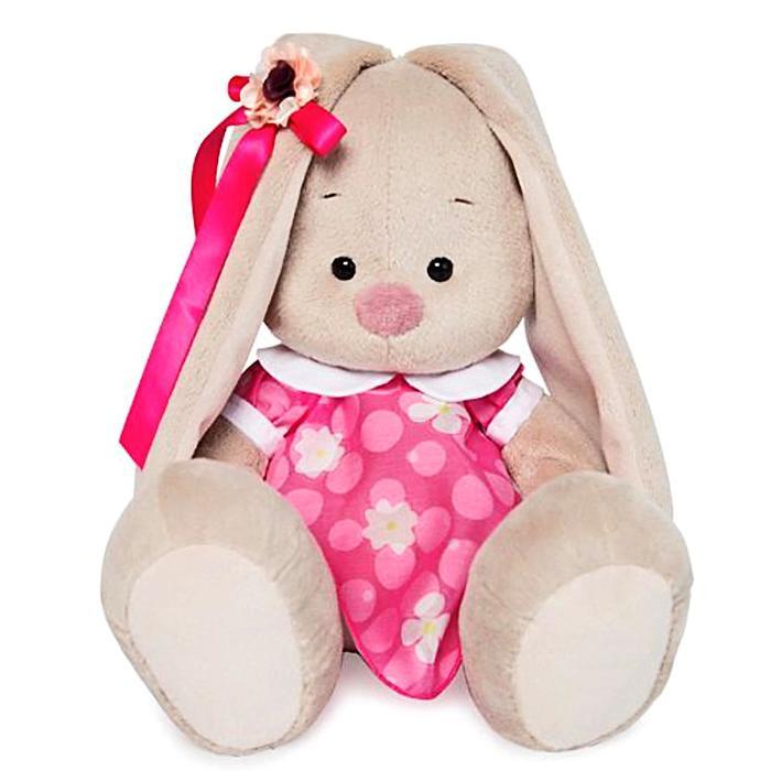 Мягкая игрушка «Зайка Ми» в розовом платье с белым воротничком, 18 см