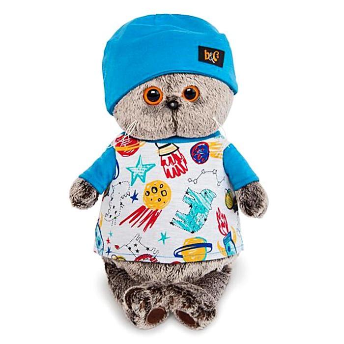 Мягкая игрушка «Басик» в футболке космос и в шапочке, 19 см - фото 105615767