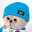 Мягкая игрушка «Басик» в футболке космос и в шапочке, 19 см - фото 105615770