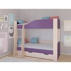 Детская двухъярусная кровать «Астра 2», цвет дуб молочный/фиолетовый