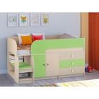 Детская кровать-чердак «Астра 9 V1», цвет дуб молочный/салатовый