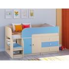 Детская кровать-чердак «Астра 9 V1», цвет дуб молочный/голубой