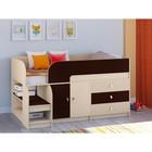 Детская кровать-чердак «Астра 9 V1», цвет дуб молочный/венге