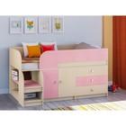 Детская кровать-чердак «Астра 9 V1», цвет дуб молочный/розовый