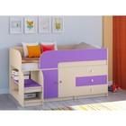Детская кровать-чердак «Астра 9 V1», цвет дуб молочный/фиолетовый