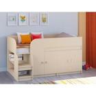 Детская кровать-чердак «Астра 9 V2», цвет дуб молочный/дуб молочный