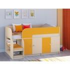 Детская кровать-чердак «Астра 9 V2», цвет дуб молочный/оранжевый