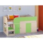 Детская кровать-чердак «Астра 9 V2», цвет дуб молочный/салатовый