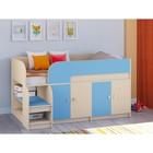 Детская кровать-чердак «Астра 9 V2», цвет дуб молочный/голубой