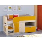 Детская кровать-чердак «Астра 9 V4», цвет дуб молочный/оранжевый