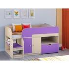 Детская кровать-чердак «Астра 9 V4», цвет дуб молочный/фиолетовый