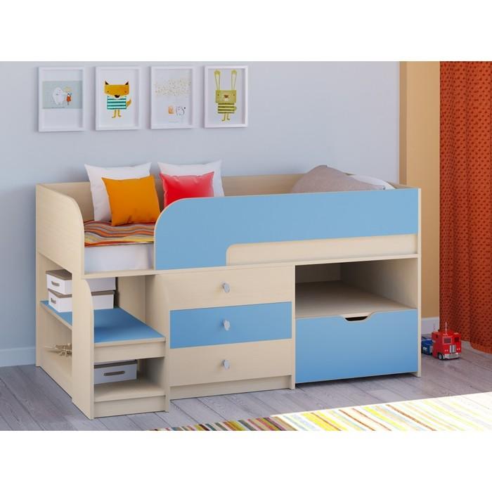 Детская кровать-чердак «Астра 9 V5», цвет дуб молочный/голубой